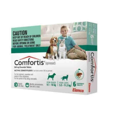COMFORTIS FOR DOGS 20.1-40LBS _ CATS 12.1-24LBS – GREEN 6 PACK