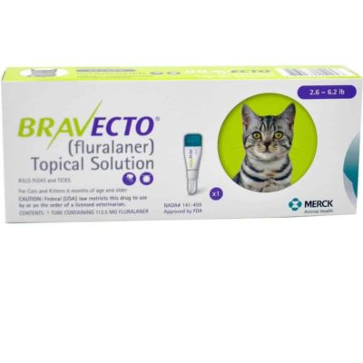 Bravecto for Cats small 2.6-6.2 LBS (1.2KG - 2.8KG) 1 DOSE
